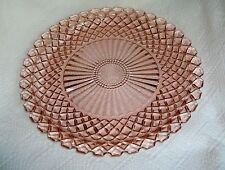 "HOCKING GLASS CO. WATERFORD or WAFFLE PINK 13-3/4"" DIAMETER LARGE SANDWICH PLATE"