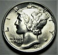 1941 D Mercury Dime Brilliant Uncirculated 90% Silver Gem BU FB