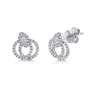 14K White Gold Marquise Diamond Stud Earrings Double Circle 2 Halo Intertwined