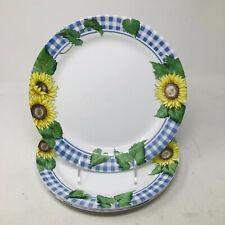 """Set of 4 Retired Corelle Corning Sunsations 10 1/4"""" Dinner Plates Sunflowers"""