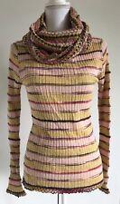 a07243177c Missoni Womens Pink Multi Color Stripe Print Cowl Neck Sweater 44 Medium