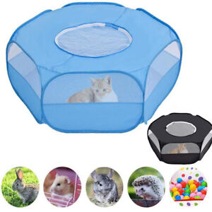 Foldable Small Animal Pet Cage Portable Fence Breathable Indoor/Outdoor W Cover