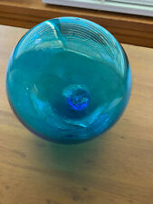 Vintage Japanese Aqua / Turquoise Blown Glass Fishing Float