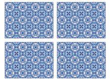 Istyle Marocain Carreaux Table Ensemble de 4 Oriental Bleu Motif Manger