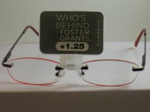 2 PAIR FOSTER GRANT WOMENS RED GLOW READING GLASSES 1.25 SLIGHTLY BLEMISHED  T5