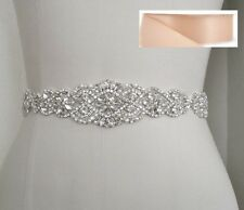 Wedding Bridal Sash Belt, Crystal Pearl Wedding Dress Sash Belt = BLUSH SATIN