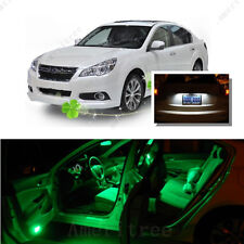 For Subaru Legacy 2004-14 Green LED Interior Kit + Xenon White License Light LED