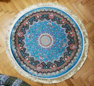 3x3 ft, turkish silk oushak design, anatolia circle rug, floral wall covering