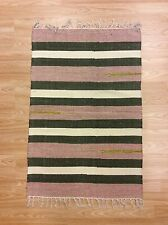 Ethnic Pink Cream Green Striped Handloomed 100% Cotton RUG Durrie 60x90cm 50%OFF