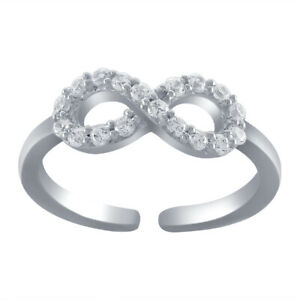 14K White Gold Finish Round Cut Diamond Adjustable Toe Ring For Womens  TRG0098
