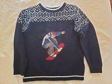 Boys Sz 10/12 Snowboarding Theme Navy Blue/White Winter Crewneck Sweater