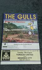 TORQUAY UNITED V SWANSEA CITY 18TH AUGUST 1987 LEAGUE CUP 1ST ROUND 1ST LEG