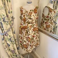 Joules Size 16 flax cotton linen Adele shift dress summer holiday cream floral
