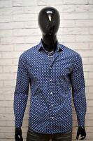 Camicia Blu Uomo MANGO Slim Taglia M Maglia Manica Lunga Shirt Man Hemd