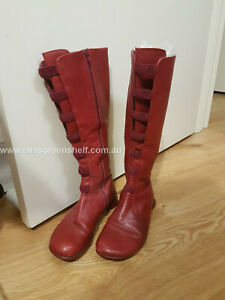 Camper Leather Boots size 37 Red Stretch Knee High EXCELLENT CONDITION Flat