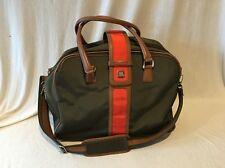 Diane Von Furstenberg DVF Army Green & Orange Weekender Travel Bag Duffle