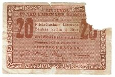Lithuania 20 Centu 1922 Rare, but unfortunatelly damaged :( (B294)