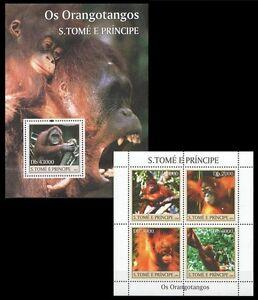 Sao Tome 2004 MNH MS+SS, Orangotangos, Monkeys, Wild Animals (N159)
