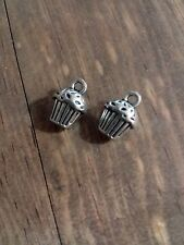 10 Cupcake Charms Antiqued Silver Birthday Charms 3D Charms Baking Charms