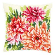 Pink Dahlias - Vervaco Large Holed Tapestry Cushion Kit - PN-0149796