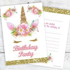 Unicorn Girls Birthday Party Invitations - Ready to Write with Envelopes (Pk 10)