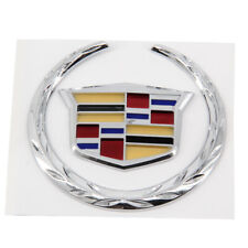 4 In 3D Logo Emblem Badge Sticker For Cadillac Wreath Crest Rear Tailgate Truck
