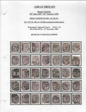 GREAT BRITAIN - SG172-174 - 1d QUEEN VICTORIA LILAC SPECIALIZED COLLECTION