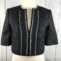 BCBG MAXAZRIA Womens Blazer Jacket S Black Gray Knit Campbell Cropped Wool Silk