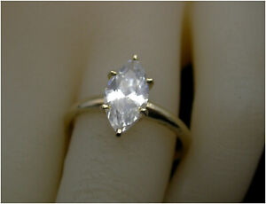 Marquise-cut Solitaire Ring UK- N Diamond simulant 14ct Gold Simply Beautiful