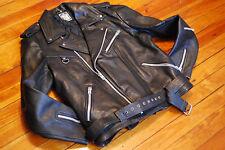 Men's Drag Specialties Heavy Black Leather Motorcycle Biker Jacket (50)