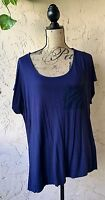 FOREVER 21 WOMEN'S KNIT TOP BLOUSE PLUS 2X RAYON BLUE CASUAL SOLID BATWING GYPSY