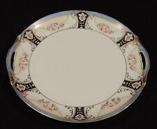 1920's Noritake handled cake plate pink white flowers black blue gold trim Japan