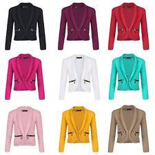 Girls Long Sleeve Open Front Zip Pocket Jacket Kids Blazer Cardigan Top 3-14 Y