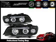 NUOVO COPPIA FARI ANTERIORI LAMPADE LPBM43 BMW X5 E53 99-03 ANGEL EYES BLACK