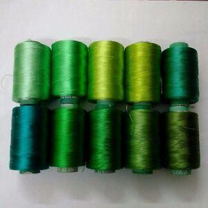 LOT SET of 10 - 150/2 Denier Viscose Rayon Thread Yarn Hand Machine Embroidery