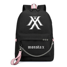 Kpop MONSTA X Canvas School Bag Backpack with Headphone Power Bank USB Jack Hole