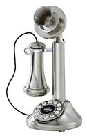 Chrome Candlestick Vintage Phone Retro Rotary Plate Antique Style Telephone Cord