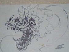 "Kelly Freas hand drawn and signed original ""DRAGON"" sketch..Unique and Rare"