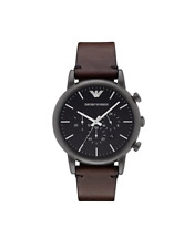 New Emporio Armani Black Brown Chronograph Dial AR1919 Leather Men's Watch