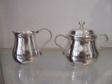 Vintage french silverplate sugar bowl & creamer Gadroons Christofle Albi pattern
