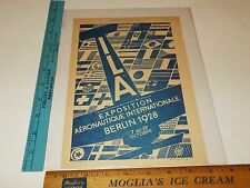 Rare Original VTG 1928 L'Aerophile Aeronautics Expo Berlin Advertising Art Print