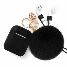 Black Airpods Case Keychain AirPod Protective Charging Cover Earpods Fur Ball
