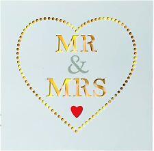 Wandbild LED Bild Mr&Mrs beleuchtet 30x30 cm Holzdbild Leuchtbild Leinwand Weiß