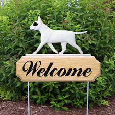 Bull Terrier Wood Welcome Outdoor Sign White w/ Patch