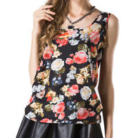 Womens O-Neck Floral Printed Sleeveless Vest Chiffon Tops T-Shirt Blouse T Shirt