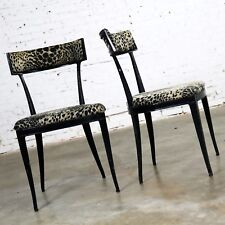 Pair Black Art Deco and Animal Print Side Chairs Cast Aluminum by Crucible Produ