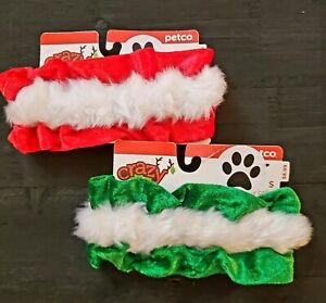 Petco Crazy About Pets Dog Christmas Holiday Collar Red or Green Small