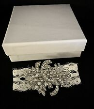Lace & Crystal Wedding Dress Train Brooch