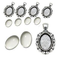 6 SET Cabochon Klar Glas 18mm Silber Fassungen Oval Anhänger Medaillons DIY S7