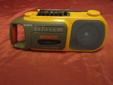 Vintage Sony Sports Cfm-104 Am,Fm Cassette Player Portable Yellow, no adapter